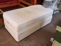 Single bed with mattress and drawers