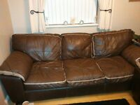 Brown leather 3+2seater