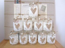 Vintage Wedding Centre Pieces 10 Glass Jars Shabby Chic NEW
