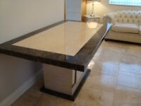 MARBLE DINING TABLE SHOWROOM CONDITION FEW MONTHS OLD 65INCH LONG 36INCH COST £1.200 BARGAIN £300