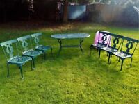 METAL..OVAL 6 SEATER TABLE SET + 6 CHAIRS(needs repaint in areas)ask for measurements please.