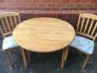 CIRCULAR DINING TABLE & 2 CHAIRS. WOODEN PINE LOOK DROP LEAF KITCHEN TABLE & PADDED CHAIRS