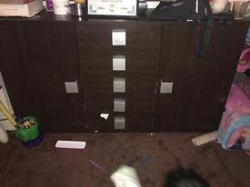 Wallnut 5 drawer cabinet
