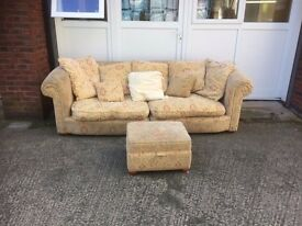 Huge 4 seater Sofa & foot stool - (Separates in two parts)