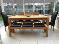 SOLID OAK DINING TABLE WITH CHAIRS AND BENCH - 8 SEATER - RRP £1399.00
