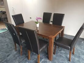 Dining table and 6 chairs,dark brown