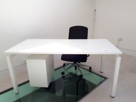 White office desks, under desk chest of drawers and black chairs - good condition