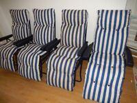 4 X New Folding Garden Chairs Patio Outdoor Sun Recliners Lounger Cushion White Blue
