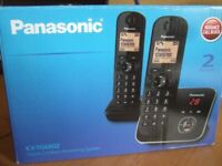 PANASONIC PHONE KX-TG6802 CORDLESS TWIN TELEPHONES AND ANSWER SYSTEM, AS NEW