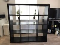 I can deliver - Good condition DARK BROWN IKEA KALLAX (4x4 squares) shelving unit