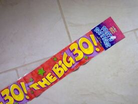Birthday banner 30th......... new