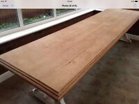 3 meter solid American white oak lacquered finished table top with soft wood white distressed legs