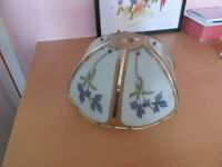 GLASS LIGHT SHADE in BLUE and also in RED.....13 INCHES IN DIAMETER.... £3.