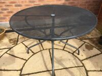 Outdoor dining table, round steel 6 seater, 105 cm diameter, John Lewis Henley by Kettler