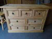 Pine chest of 7 drawers