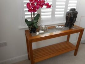 Solid oak M&S console table, with glass top shelf