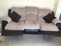 3 seater reclining Sofa with cushions included