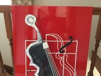 Musical metal art on red background (Peter tang )