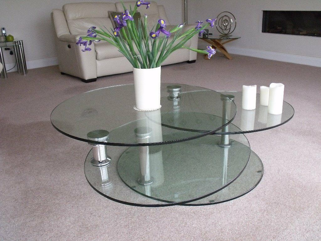 Brand New And Unused Dwell Tryka Circular Glass Coffee Table In