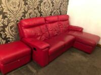 Red Leather recliner DFS sofa and footstool