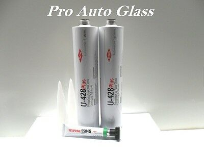 2 Dow U-428+ Plus Windshield Urethane Glue Sealant Window Betaprime 5504G Primer