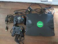 Original XBOX console, two controllers and games