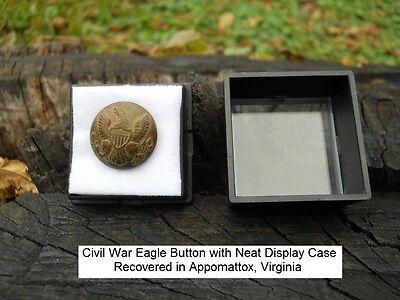 Old Rare Vintage Antique Civil War Relic Eagle Button Appomattox Camp With Case