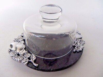 Lenox Glass Dome & Marble Cheese Plate Platter Metal Fruits Flowers - Lenox Glass Platter
