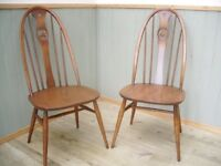 Stunning Pair of Ercol Swan Back Chairs
