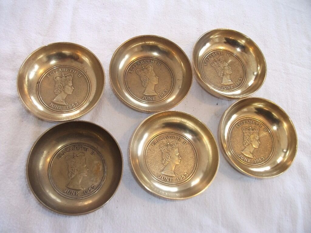 """Set of 6 Brass Elizabeth II Coronation Dishes (1953Price Listed is for ALL 6in Ipswich, SuffolkGumtree - Set of 6 Brass dishes for the coronation of Queen Elizabeth II in 1953. Size of each dish is approx 3.5"""" diameter x 1"""" high. In good condition, just need a clean/polish. Having a clear out so have various different items listed. TEXT is best way to..."""