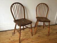 Vintage Antique Country Kitchen Stick Back Chairs x 2