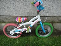 Avigo music, love, fashion, kiss 16 inch wheels multi coloured girls bike suit child 5 to 7 years