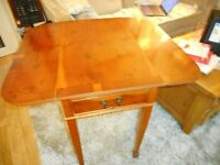 vintage small drop leaf table with drawer