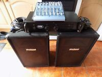 Pro-sound Powered amp, Pro-sound speakers and Alesis mixing desk