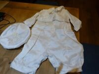 Baby boys cream silk Christening outfit size 6 months designed by Jean Read Excellent condition