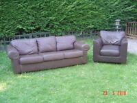 Brown Leather Three Seater Sofa and a Brown Leather Armchair NOT Matching Good Condition Can Deliver