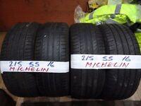 matching set of 215 55 16 michelins 5-6mm tread £90 set sup & fittd(LOADS MORE AV 7-DAYS)