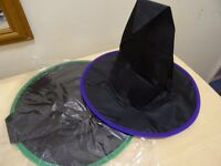 2 X WITCHES HATS - AGE 3-5 YRS - BLACK WITH COLOURED RIM - NEW IN PACKAGING