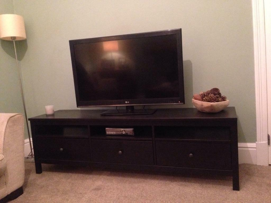 Hemnes Tv Stand Gray Brown : 182cm long  IKEA hemnes TV stand in black (ikea call it black brown