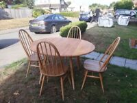 Ercol folding leaf table & 4 chairs