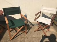 2 folding directors chairs for sale in excellent condition for outside garden