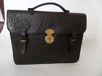 MULBERRY (1970s/1980s) dark brown congo document laptop briefcase - Perfect