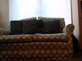 John Lewis 2 2seater sofas and foot stool. Green and beige. Feather cushions