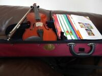 STENTOR II VIOLIN - 4/4 WITH BOW AND CASE - 8 VIOLIN BOOKS FREE