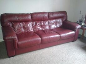 Large 3 seater leather sofa and matching armchair in excellent condition cost over 2500 when brought
