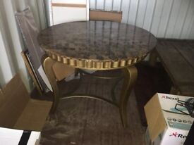 Round table. Marble top. Dining table.