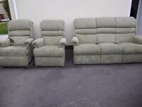 THREE PIECE SUITE + SHERBORNE ELECTRIC RISER RECLINER + MATCHING CHAIR, sofa seater. can deliver