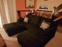 Black 3 Seater Sofa and Pouffe