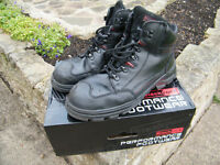 Pair of mens workboots, black, size 10.