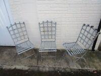 grey metal garden chairs x 3 , good,
